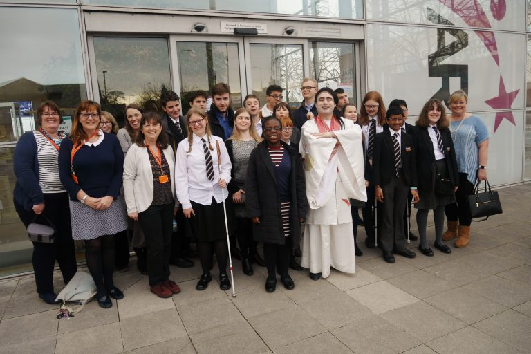 Staff and students outside the Courtyard Theatre, Hereford