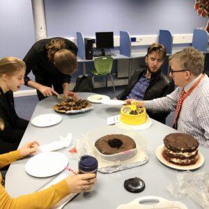 Judges awaiting a slice of cake
