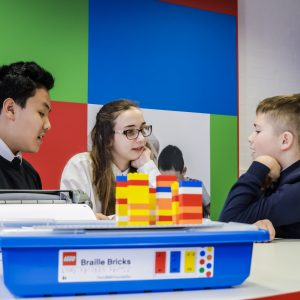 Vision impaired and sighted students using the bricks inclusively