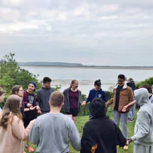 Students as a group, views of Welsh scenery