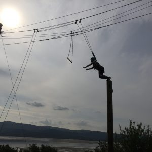 View of student about to jump to the trapeze