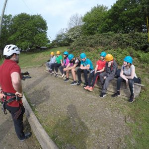Students being briefed prior to their trapeze jump