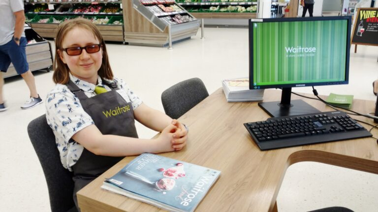 Student working at Waitrose