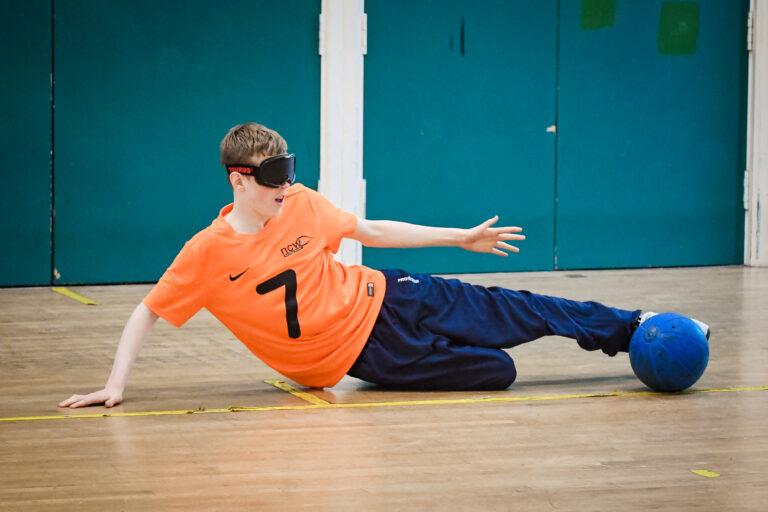 Stuart playing Goalball