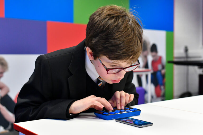 Student using iPhone
