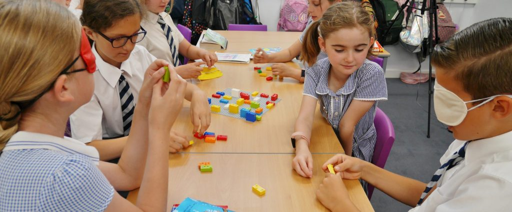 Playing with Lego Braille bricks in the classroom