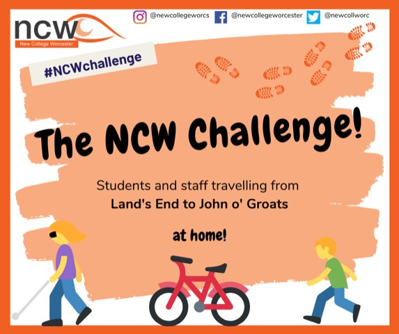 Artwork shows 2 people walking and a bike with the words The NCW Challenge