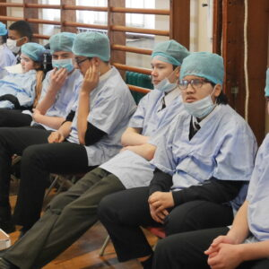 Students dressed as surgeons!