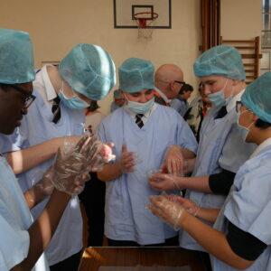 Students passing around anatomy
