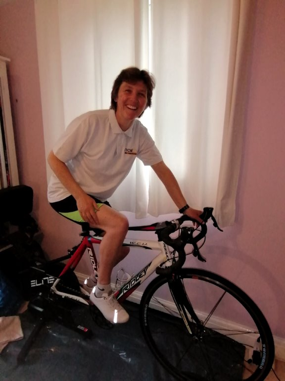 Mrs Price on her home exercise bike