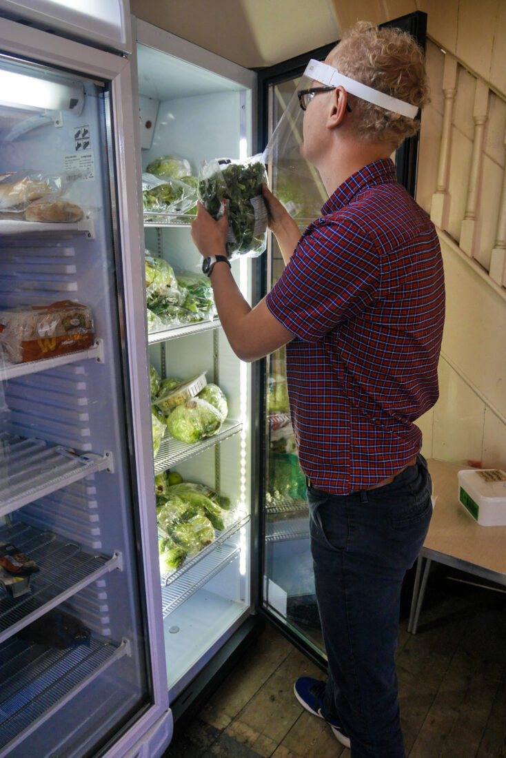 Max looking after the community fridge