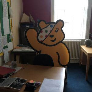 Pudsey taking charge as the English teacher