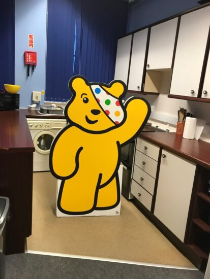Pudsey cutout in the ILS department