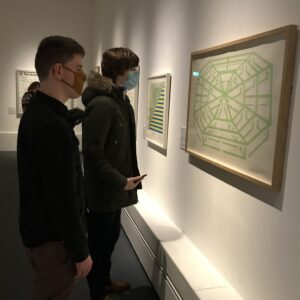 Students viewing work