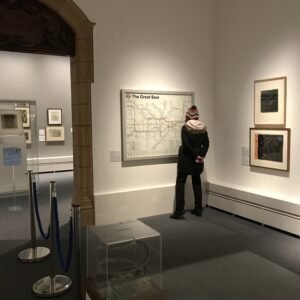 Student browsing the gallery