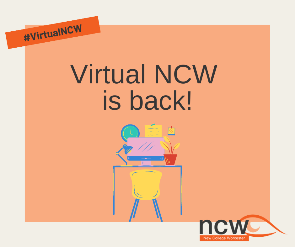 Graphic of a home learning set up: desk, computer and chair. Text reads 'Virtual NCW is back!'