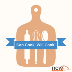 Graphic of chopping board with utensils such as wooden spoon, whisk and rolling pin. Blue banner over the top with the text 'Can Cook, Will Cook!'