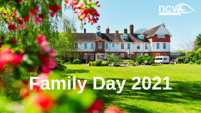 NCW building in focus on a sunny, bright day with colourful blossom in the foreground. The text 'Family Day 2021' placed across the image