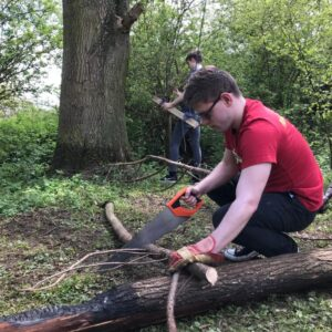 Cutting wood for the fire!