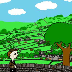 Colourful illustration by Reef of a boy walking along a road in the countryside