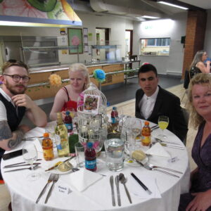 Tom E, Lottie, Alex and Miss Ryan at the table