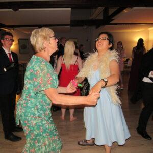 Principal Miss Ross dancing with Rahel!