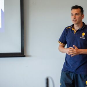 Chris from the Warriors Foundation delivering a talk on Blind Rugby