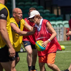 Action shot of Blind Rugby practical session