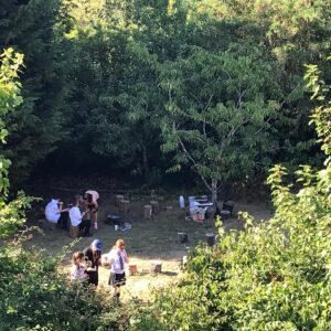 Students exploring the bushcraft area