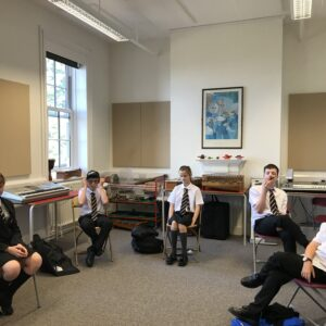 Year 7 in a music lesson with Mrs Ward