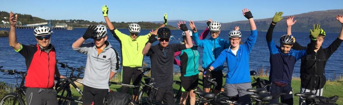 Students with their tandem bikes on the Isle of Mull!