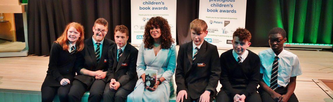 Students with award-winning Author, Elizabeth Acevedo